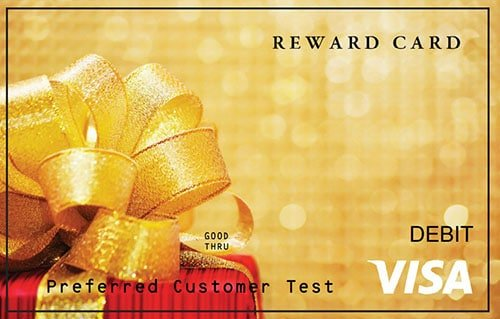 Gold Visa card featuring Christmas present
