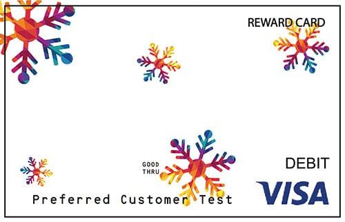 White Visa card featuring snowflakes