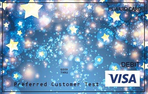 Blue Visa card featuring stars